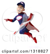 Clipart Of A 3d Young White Male Super Hero Mechanic In Red And Dark Blue Flying Pointing And Holding A Giant Toothbrush Royalty Free Illustration