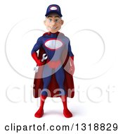 Clipart Of A 3d Young White Male Super Hero Mechanic In Red And Dark Blue Royalty Free Illustration