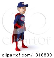 Clipart Of A 3d Young White Male Super Hero Mechanic In Red And Dark Blue Facing Right Royalty Free Illustration