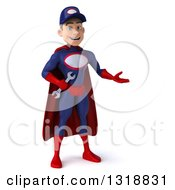 Clipart Of A 3d Young White Male Super Hero Mechanic In Red And Dark Blue Presenting To The Right Royalty Free Illustration