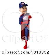 Clipart Of A 3d Full Length Young White Male Super Hero Mechanic In Red And Dark Blue Pointing Around A Sign Royalty Free Illustration