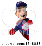 Clipart Of A 3d Young White Male Super Hero Mechanic In Red And Dark Blue Pointing Outwards Around A Sign Royalty Free Illustration
