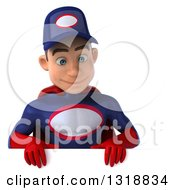 Clipart Of A 3d Young White Male Super Hero Mechanic In Red And Dark Blue Looking Down Over A Sign Royalty Free Illustration