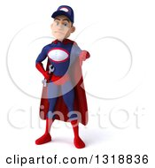 Clipart Of A 3d Young White Male Super Hero Mechanic In Red And Dark Blue Giving A Thumb Down Royalty Free Illustration