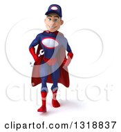 Clipart Of A 3d Young White Male Super Hero Mechanic In Red And Dark Blue Speed Walking Royalty Free Illustration