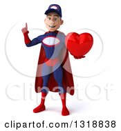 Clipart Of A 3d Young White Male Super Hero Mechanic In Red And Dark Blue Holding Up A Finger And A Heart Royalty Free Illustration