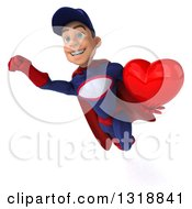 Clipart Of A 3d Young White Male Super Hero Mechanic In Red And Dark Blue Flying And Holding A Heart 2 Royalty Free Illustration