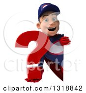 Clipart Of A 3d Young White Male Super Hero Mechanic In Red And Dark Blue Holding A Question Mark Around A Sign Royalty Free Illustration
