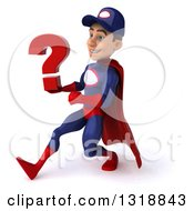 Clipart Of A 3d Young White Male Super Hero Mechanic In Red And Dark Blue Speed Walking To The Left And Holding A Question Mark Royalty Free Illustration