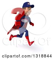 Clipart Of A 3d Young White Male Super Hero Mechanic In Red And Dark Blue Sprinting To The Right And Holding A Question Mark Royalty Free Illustration