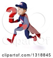 Clipart Of A 3d Young White Male Super Hero Mechanic In Red And Dark Blue Sprinting To The Left And Holding A Question Mark Royalty Free Illustration