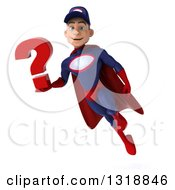 Clipart Of A 3d Young White Male Super Hero Mechanic In Red And Dark Blue Flying And Holding A Question Mark Royalty Free Illustration