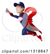 Clipart Of A 3d Young White Male Super Hero Mechanic In Red And Dark Blue Flying And Holding A Question Mark 2 Royalty Free Illustration