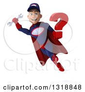 Clipart Of A 3d Young White Male Super Hero Mechanic In Red And Dark Blue Flying And Holding A Question Mark 3 Royalty Free Illustration