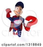 Clipart Of A 3d Young White Male Super Hero Mechanic In Red And Dark Blue Flying And Holding A Question Mark 4 Royalty Free Illustration