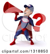 Clipart Of A 3d Young White Male Super Hero Mechanic In Red And Dark Blue Holding A Question Mark And Announcing To The Left With A Megaphone Royalty Free Illustration