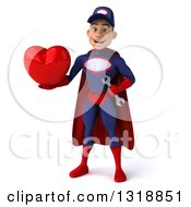 Clipart Of A 3d Young White Male Super Hero Mechanic In Red And Dark Blue Holding A Heart Royalty Free Illustration