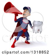 Clipart Of A 3d Young White Male Super Hero Mechanic In Red And Dark Blue Holding A Tooth And Announcing With A Megaphone 2 Royalty Free Illustration