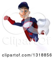 Clipart Of A 3d Young White Male Super Hero Mechanic In Red And Dark Blue Flying And Holding A Tooth 2 Royalty Free Illustration