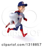 Clipart Of A 3d Young White Male Super Hero Mechanic In Red And Dark Blue Sprinting To The Right And Holding A Tooth Royalty Free Illustration