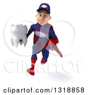 Clipart Of A 3d Young White Male Super Hero Mechanic In Red And Dark Blue Sprinting And Holding A Tooth Royalty Free Illustration