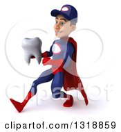 Clipart Of A 3d Young White Male Super Hero Mechanic In Red And Dark Blue Speed Walking To The Left And Holding A Tooth Royalty Free Illustration