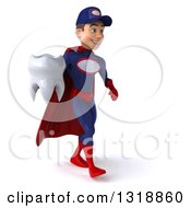 Clipart Of A 3d Young White Male Super Hero Mechanic In Red And Dark Blue Walking To The Right And Holding A Tooth Royalty Free Illustration