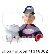 Clipart Of A 3d Young White Male Super Hero Mechanic In Red And Dark Blue Holding A Tooth Over A Sign Royalty Free Illustration