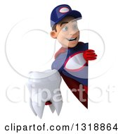 Clipart Of A 3d Young White Male Super Hero Mechanic In Red And Dark Blue Holding A Tooth And Looking Around A Sign Royalty Free Illustration