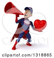Clipart Of A 3d Young White Male Super Hero Mechanic In Red And Dark Blue Holding A Heart And Announcing With A Megaphone 3 Royalty Free Illustration