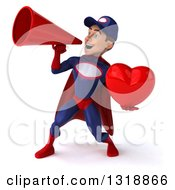 Clipart Of A 3d Young White Male Super Hero Mechanic In Red And Dark Blue Holding A Heart And Announcing With A Megaphone 2 Royalty Free Illustration