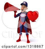 Clipart Of A 3d Young White Male Super Hero Mechanic In Red And Dark Blue Holding A Heart And Announcing With A Megaphone Royalty Free Illustration