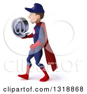 Clipart Of A 3d Young White Male Super Hero Mechanic In Red And Dark Blue Walking To The Left And Holding An Email Arobase At Symbol Royalty Free Illustration