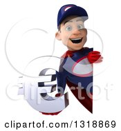 Clipart Of A 3d Young White Male Super Hero Mechanic In Red And Dark Blue Holding A Euro Symbol Around A Sign 3 Royalty Free Illustration