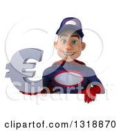 Clipart Of A 3d Young White Male Super Hero Mechanic In Red And Dark Blue Holding A Euro Symbol Over A Sign Royalty Free Illustration