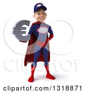Clipart Of A 3d Young White Male Super Hero Mechanic In Red And Dark Blue Holding A Euro Symbol Royalty Free Illustration