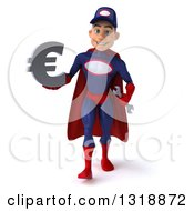 Clipart Of A 3d Young White Male Super Hero Mechanic In Red And Dark Blue Walking And Holding A Euro Symbol Royalty Free Illustration