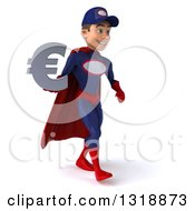 Clipart Of A 3d Young White Male Super Hero Mechanic In Red And Dark Blue Walking To The Right And Holding A Euro Symbol Royalty Free Illustration