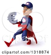 Clipart Of A 3d Young White Male Super Hero Mechanic In Red And Dark Blue Speed Walking To The Left And Holding A Euro Symbol Royalty Free Illustration
