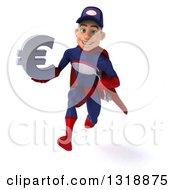 Clipart Of A 3d Young White Male Super Hero Mechanic In Red And Dark Blue Sprinting And Holding A Euro Symbol Royalty Free Illustration