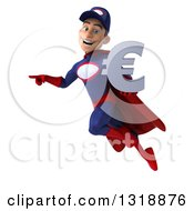 Clipart Of A 3d Young White Male Super Hero Mechanic In Red And Dark Blue Flying Pointing And Holding A Euro Symbol Royalty Free Illustration