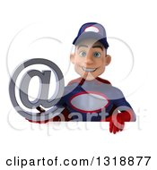 Clipart Of A 3d Young White Male Super Hero Mechanic In Red And Dark Blue Holding An Email Arobase At Symbol Over A Sign Royalty Free Illustration