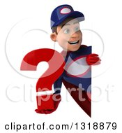 Clipart Of A 3d Young White Male Super Hero Mechanic In Red And Dark Blue Holding A Question Mark And Looking Around A Sign Royalty Free Illustration