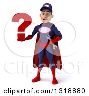 Clipart Of A 3d Young White Male Super Hero Mechanic In Red And Dark Blue Holding A Question Mark Royalty Free Illustration