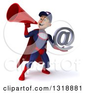 Clipart Of A 3d Young White Male Super Hero Mechanic In Red And Dark Blue Holding An Email Arobase At Symbol And Announcing With A Megaphone Royalty Free Illustration