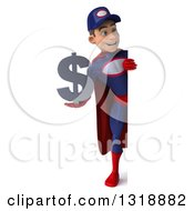 Clipart Of A 3d Full Length Young White Male Super Hero Mechanic In Red And Dark Blue Holding A Dollar Symbol And Looking Around A Sign Royalty Free Illustration