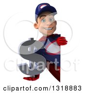 Clipart Of A 3d Young White Male Super Hero Mechanic In Red And Dark Blue Holding A Dollar Symbol Around A Sign Royalty Free Illustration