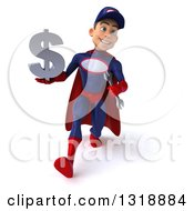 Clipart Of A 3d Young White Male Super Hero Mechanic In Red And Dark Blue Speed Walking And Holding A Dollar Symbol Royalty Free Illustration