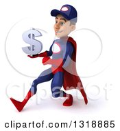 Clipart Of A 3d Young White Male Super Hero Mechanic In Red And Dark Blue Speed Walking To The Left And Holding A Dollar Symbol Royalty Free Illustration