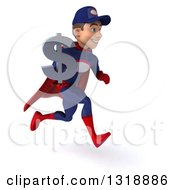 Clipart Of A 3d Young White Male Super Hero Mechanic In Red And Dark Blue Sprinting To The Right Holding A Dollar Symbol Royalty Free Illustration